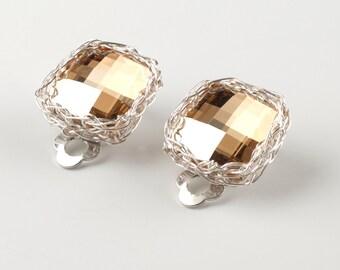 CLIP ON earrings in silver ,  Wire crochet Champagne earrings , Sparkly earrings , square earrings , clip-on earrings