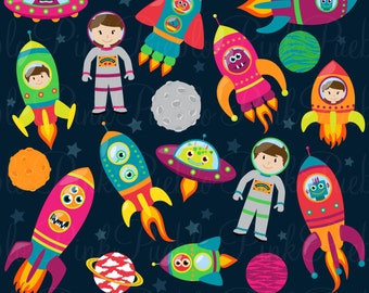 Space Astronaut Clipart Clip Art, Retro Rocketship Spaceship Rocket Space Party Clipart Clip Art Vectors - Commercial and Personal Use