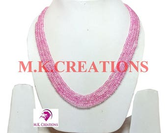 30% Off, Coated Pink Crystal Beads 4 Strand Necklace, Multistrand Necklace, Beaded Layered Necklace, Statement Necklace, Christmas Gift