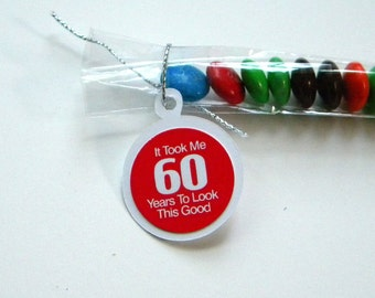 60th Birthday Party Favors - It Took Me 60 Years to Look This Good, Red, White, Set of 12 Candy Treat Bags