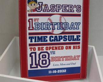 Baseball Theme 1st Birthday Time Capusule Keepsake box