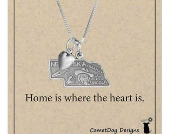 Sterling Silver Nebraska State Pendant Necklace with Heart Charm |State Jewelry, Home Sweet Home Is Where the Heart Is, College Student Gift