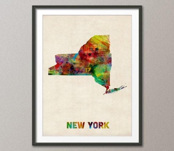 Watercolor New York: New York Watercolor Map USA Art Print 348