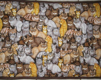Quilted Pet Carrier Mat with Brown, Orange and Gray Cats Size Small