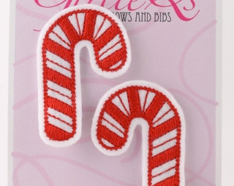 Candy Cane Felt Hair Clip Clippie 2-pack Embroidered Christmas Peppermint