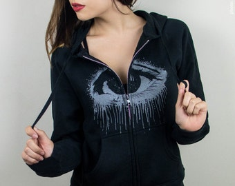 eye black hoodie, womens clothing, screenprinted hoodies, eye hoodie, eye, hoodie black gray, sweatshirt, OOAK - size S