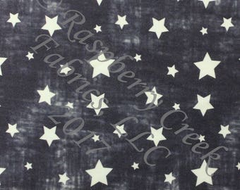 Navy and White Vintage Faded Look Stars 4 Way Stretch Jersey Knit Fabric, Patriotic Prints By Ella Randall for Club Fabrics, 1 Yard