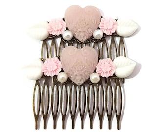 Pink-Heart Hair Combs-Neutral Hair Combs-Set of 2-Wedding Hair Combs-Heart Bobby Pins-Heart Hair Clips-Heart Hair Slides-Heart Fascinator