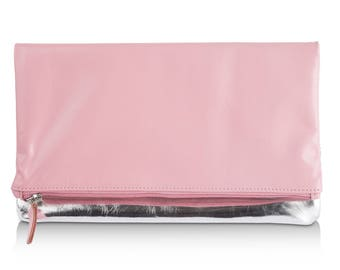 Leather Clutch Bag in Pink Leather/Metallic Silver