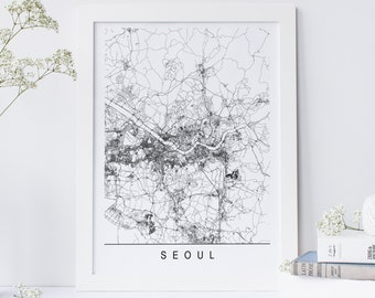 SEOUL MAP - Minimalist Seoul Art Print, Customizable City Map, High Quality Giclee Print, Modern Map Art