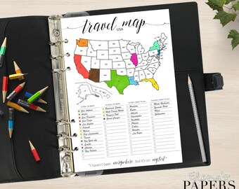 Printable TRAVEL USA MAP insert for your Pocket, Personal, A5 and Letter planner_Trip to go_Vacation_Tracker city America_Coloring Pdf