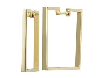 Square Earrings, 14K Yellow Gold Ladies Earrings, Ladies Fine Jewelry
