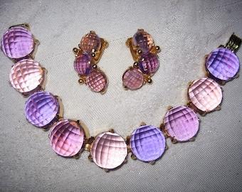 Vintage Lavender Purple Cut Crystal Linked Bracelet & Earrings