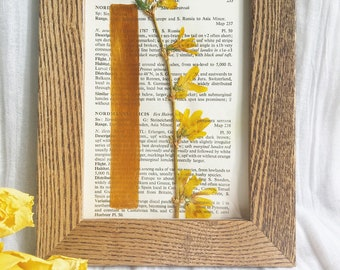 Framed Pressed Forsythia with Handpainted Geometric Gold Bar on Vintage Upcycled Reclaimed Book Page