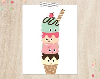 "Ice cream wall art, Instant download, 11x14"", Ice cream poster, Modern nursery art, Ice cream print, playroom art, Playroom Decor, Ice cream"