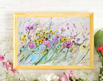 Colorful Painting Flowers Wildflowers Field Paintings On Canvas Abstract Original Floral Bohemian Print Canvas Boho Purple Yellow Pink Green