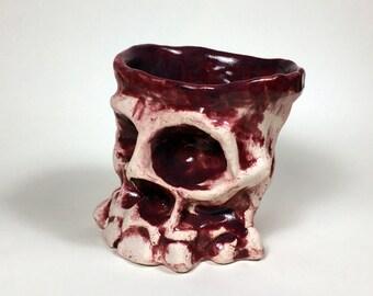 Skull Cup- Slipcast, purple glaze