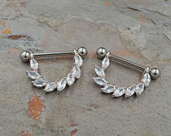 Marquise CZ 14g or 16g Silver Nipple Shield Nipple Ring Nipple Piercing