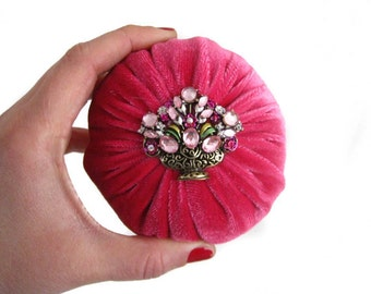 "4"" Pink Velvet Emery Pincushion - 1 lb - Keep your needles clean and sharp"
