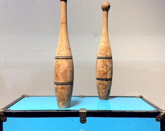 Set of Victorian Wood Indian Clubs - Juggling Pins