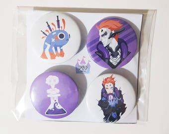 Overwatch Moira buttons/pins/badges 4pcs set