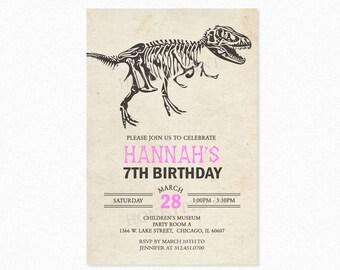 Dinosaur Birthday Party Invitation, Dino Birthday Party Invitations, Dinosaur Theme, Pink, Printable or Printed
