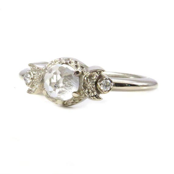 Rose Cut White Topaz and White Diamond Engagement Moon Ring - 14k White Gold