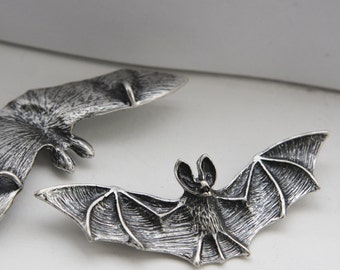 2 Pieces Oxidized Silver Plated Pendant - Bat  78x26mm (12C-F-324)