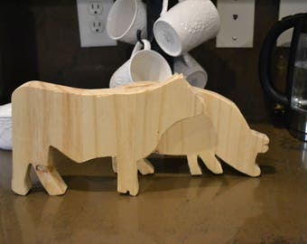 Wooden Cow and Pig Combo