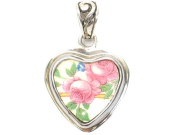 Broken China Jewelry Pink Roses Sterling Silver Heart Pendant