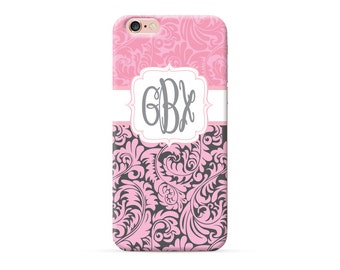 iPhone 8 Case, iPhone 8 Plus Case, iPhone X Case, iPhone 7 Case, iPhone 6 case, Monogram, pink floral damask personalized phone case