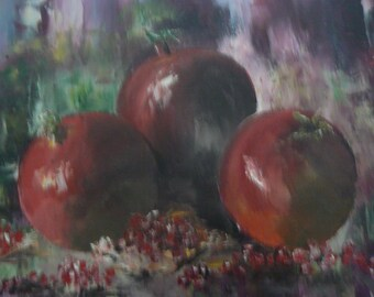 Pomegranate - knife oil painting