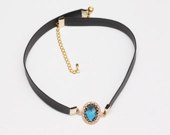 Blue Crystal Choker, Connector Necklace, Brilliant Necklace, Blue Choker, Unique Choker Necklace, Womens Necklace, Hot Necklace