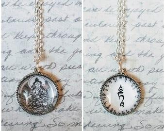 White Tara pendant, buddha pendant, White Tara necklace, mantra pendant, double-sided, handmade buddha pendant, goddess pendant