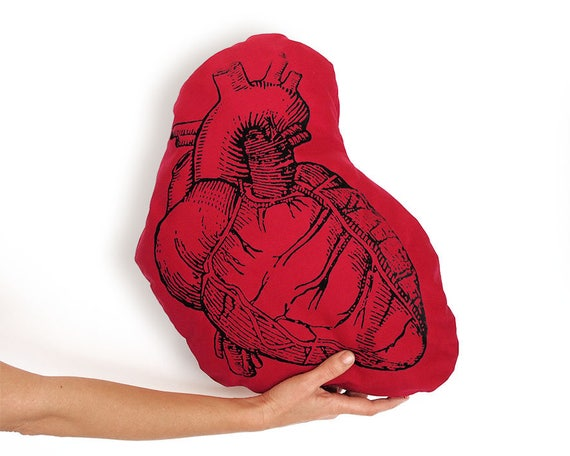 Cojín corazón rojo Corazón anatómico Corazón de tela regalo