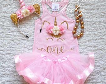 Unicorn First Birthday, Unicorn 1st Bday Outfit, Baby First Birthday Outfit, Girls Unicorn Birthday, Unicorn Flower Crown, First Bday Outfit