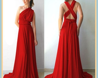 Bridesmaids dress in middle red color floor length dress matching tube top