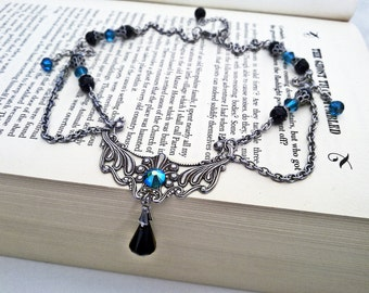 Gothic Black Necklace Swarovski Necklace Black Onyx Necklace Aged Silver Necklace Blue Zircon Victorian Gothic Jewelry