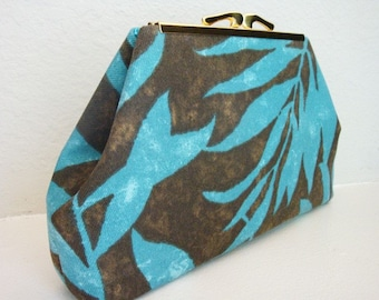 Turquoise Leaves Purse Bag Clutch by Lolis' Creations