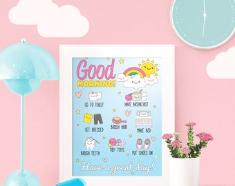 Morning Routine Chart, A4, printable, chore chart, children routine