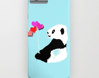 Panda with balloons on the Phone Case - panda on   iPhone 6S, iPhone 6 Plus, Samsung Galaxy S7, Panda gifts, iPhone 8