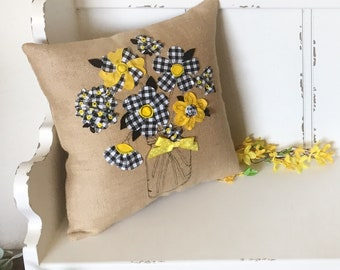 Buffalo Check Pillow Cover, Spring Pillow Cover, Burlap Pillow Cover, Farmhouse Pillow, Farmhouse Decor,  Flowers Pillow Cover, Black Yellow