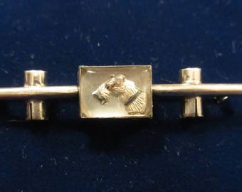 1920's Sterling Reverse Painted  INTAGLIO TERRIER DOG Pin