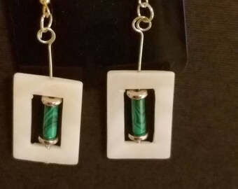 Earrings with shell frames and malachite beads