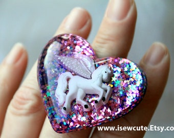 Pegasus Jewelry, Resin Ring Purple Rose Glitter, Pegasus Jewelry, Winged Horse Ring, Statement Ring, Unique Jewelry Handcrafted by isewcute