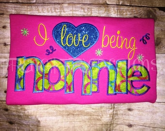 Grandmother Brag applique Short-Sleeve T-Shirt for I love being NONNIE Customized and Personalized