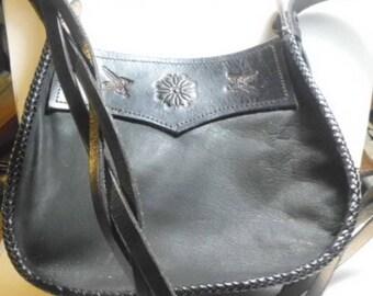 Black  leather cross body purse/ leather shoulder bag/ Deer Leather