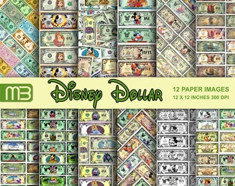 Disney Ticket Dollars Bill Disney Cover fover fror tar rarty!scrapbook - -We have a lot of  Disney,s digital papers.Please look them.