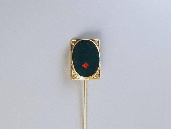Antique early Art Deco 1920s 10k bloodstone stick pin, signed William C Green & Co, stickpin, lapel pin, tie pin, tie tack, brooch