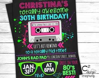 Totally Awesome Neon 80's Birthday Invitation